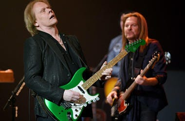 "Recording artists James ""JY"" Young (L) and Ricky Phillips of Styx perform"