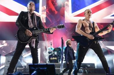 Inductees Vivian Campbell, Joe Elliott and Phil Collen of Def Leppard perform at the 2019 Rock & Roll Hall Of Fame Induction Ceremony - Show at Barclays Center on March 29, 2019 in New York City.