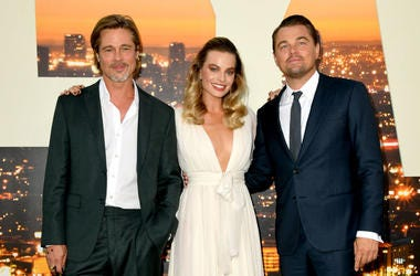"""Brad Pitt, Margot Robbie and Leonardo DiCaprio arrive at the premiere of Sony Pictures' """"One Upon A Time...In Hollywood"""" at the Chinese Theatre on July 22, 2019 in Hollywood, California."""