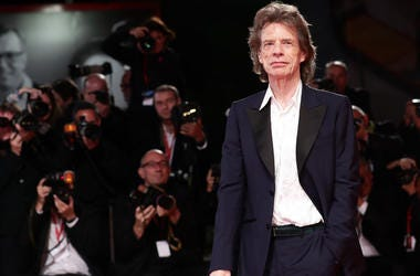 """Mick Jagger walks the red carpet ahead of the """"The Burnt Orange Heresy"""" during the 76th Venice Film Festival at Sala Grande on September 07, 2019 in Venice, Italy."""