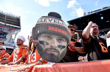 Cleveland Browns fans gather to watch warm ups before the start of the game