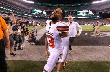 Odell Beckham #13 of the Cleveland Browns runs off the field after defeating the New York Jets