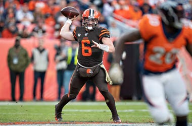 Baker Mayfield #6 of the Cleveland Browns throws a pass during the second half of a game against the Denver Broncos at Broncos Stadium at Mile High on November 3, 2019 in Denver, Colorado. The Broncos defeated the Browns 24-19.