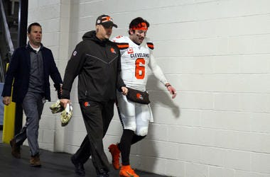 PITTSBURGH, PA - DECEMBER 01: Baker Mayfield #6 of the Cleveland Browns leaves the field with medical staff after leaving the game with a hand injury against the Pittsburgh Steelers on December 1, 2019 at Heinz Field in Pittsburgh, Pennsylvania. (Photo by