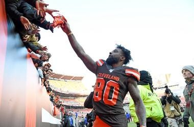Wide receiver Jarvis Landry #80 of the Cleveland Browns gives his gloves to the fans after the Cleveland Browns defeated the Miami Dolphins