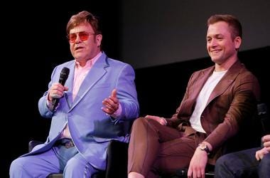Elton John and Taron Egerton speak onstage during a Special Screening Q&A moderated by Dave Karger in support of Rocketman