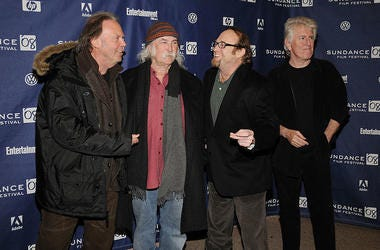 Musicians (L-R) Neil Young, David Crosby, Stephen Stills and Graham Nash