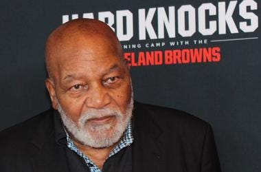 Browns Hall of Famer Jim Brown with his wife at the premiere of Hard Knocks