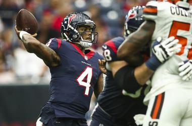 Houston Texans quarterback Deshaun Watson (4) attempts a pass during the fourth quarter against the Cleveland Browns at NRG Stadium.
