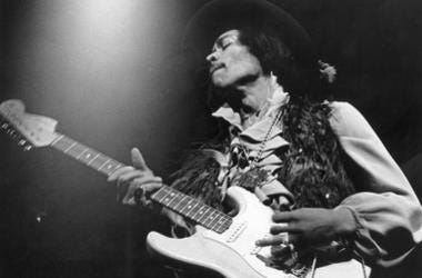imi Hendrix performs on his Fender Stratocaster electric guitar at the Fillmore East in New York.