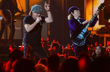 AC/DC lead vocalist Brian Johnson (left) and guitarist Angus Young