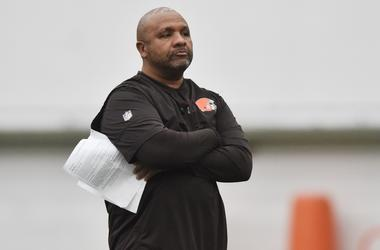 Cleveland Browns head coach Hue Jackson during rookie minicamp at the Cleveland Browns training facility.