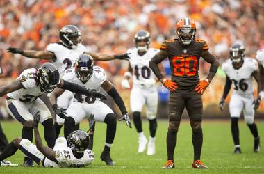 Cleveland Browns wide receiver Jarvis Landry (80) reacts after missing a catch as the Baltimore Ravens celebrate during overtime at FirstEnergy Stadium