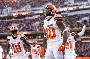 Cleveland Browns wide receiver Jarvis Landry (80) celebrates after scoring a touchdown against the Carolina Panthers during the first quarter at FirstEnergy Stadium.