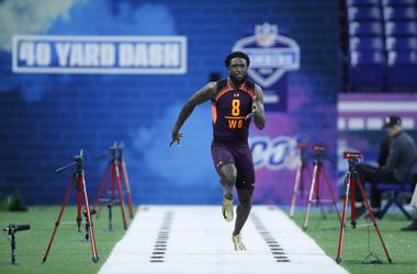 Ohio State wide receiver Parris Campbell (WO08) runs the 40 yard dash during the 2019 NFL Combine at Lucas Oil Stadium.