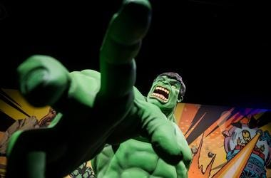 Close up with the Hulk inside the new 'Marvel: Universe of Super Heroes' installation at the Franklin Institute Friday, April 12, 2019 in Philadelphia, Pa. The exhibit runs from April 13-September 2. Jl Marvel 41219 08