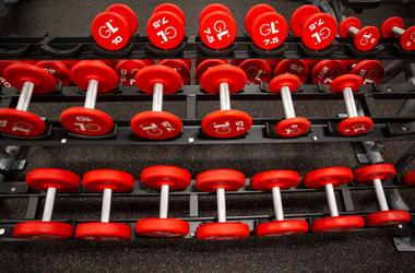 The free weight section features red dumbbells which have been popular The free weight section features red dumbbells which have been popular with gym-goers according to shift leader Mawith gym-goers according to shift leader MaKayla Fiksdal. Greatlife006