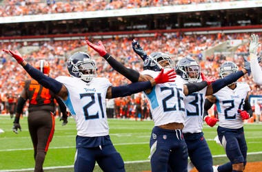 Sep 8, 2019; Cleveland, OH, USA; Tennessee Titans cornerback Logan Ryan (26) celebrates his interception with cornerback Malcolm Butler (21) and Tennessee Titans free safety Kevin Byard (31) against the Cleveland Browns during the fourth quarter at FirstE