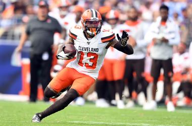 Cleveland Browns wide receiver Odell Beckham (13) runs with the ball in the forth quarter in a football game against the Baltimore Ravens at M&T Bank Stadium.