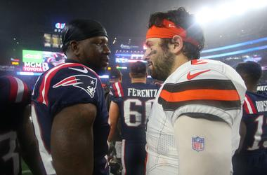 ; New England Patriots wide receiver Mohamed Sanu Sr. (14) talks with Cleveland Browns quarterback Baker Mayfield (6) following the game at Gillette Stadium.
