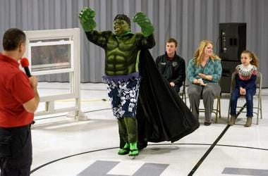 "Henderson Fire Department Lt. Mike Ivie, from left, introduces Lt. Mike Polley, dressed as Hulk, to the judges Firefighter Jeffrey Yeckering, music teacher Amanda Caudill and East Heights Elementary student Kayleigh Gibson during a ""Firefighters Got Tale"