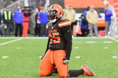 Nov 10, 2019; Cleveland, OH, USA; Cleveland Browns defensive tackle Larry Ogunjobi (65) celebrates after the Buffalo Bills missed a field goal during the second half at FirstEnergy Stadium. Mandatory Credit: Ken Blaze-USA TODAY Sports