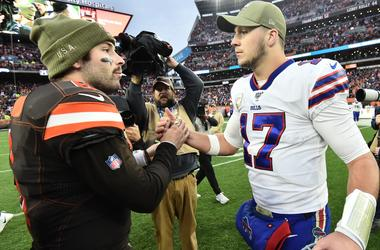 Cleveland Browns quarterback Baker Mayfield (6) shakes hands with Buffalo Bills quarterback Josh Allen (17) after the game between the Cleveland Browns and the Buffalo Bills at FirstEnergy Stadium