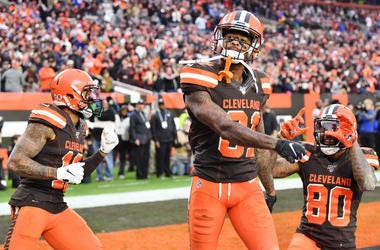 Nov 10, 2019; Cleveland, OH, USA; Cleveland Browns wide receiver Rashard Higgins (81) celebrates with wide receiver Odell Beckham (13) and wide receiver Jarvis Landry (80) after a touchdown during the second half against the Buffalo Bills at FirstEnergy S