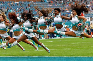 Miami Dolphins cheerleaders perform during the second half against the Buffalo Bills at Hard Rock Stadium.