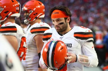 Cleveland Browns quarterback Baker Mayfield (6) reacts in the fourth quarter against the Arizona Cardinals at State Farm Stadium.
