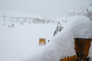 Nov 28, 2014; Lake Louise, Alberta, Canada; General view of the bottom of the hill as a training run for the men's downhill in the FIS alpine skiing World Cup at Lake Louise Ski Resort is cancelled due to heavy snowfall. Mandatory Credit: Sergei Belski-US