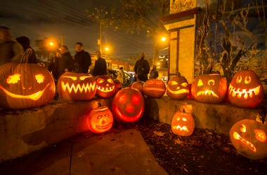 (191102) -- TORONTO, Nov. 2, 2019 (Xinhua) -- People walk past carved pumpkins during the 2019 Mimico Pumpkin Parade at Amos Waites Park in Toronto, Canada, Nov. 1, 2019. (Photo by Zou Zheng/Xinhua) (Photo by Xinhua/Sipa USA)