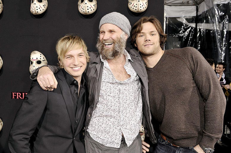 "Actor Ryan Hanson, director Marcus Nispel and actor Jerad Padalecki arrive at the premiere of Warner Bros.' ""Friday the 13th"" at the Chinese Theater on February 9, 2009 in Los Angeles, California"