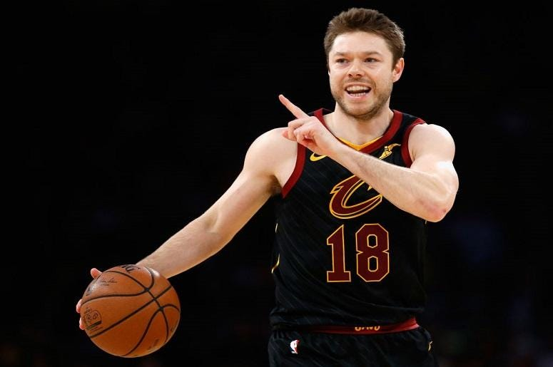 Matthew Dellavedova #18 of the Cleveland Cavaliers looks on during the second half of a game against the Los Angeles Lakers at Staples Center