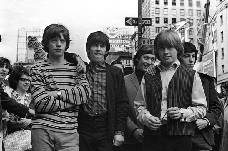 From left to right: Mick Jagger, Keith Richards, Charlie Watts, Brian Jones (1942 - 1969), and Bill Wyman.
