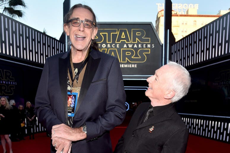 "Actors Peter Mayhew (L) and Anthony Daniels attend the World Premiere of ""Star Wars: The Force Awakens"
