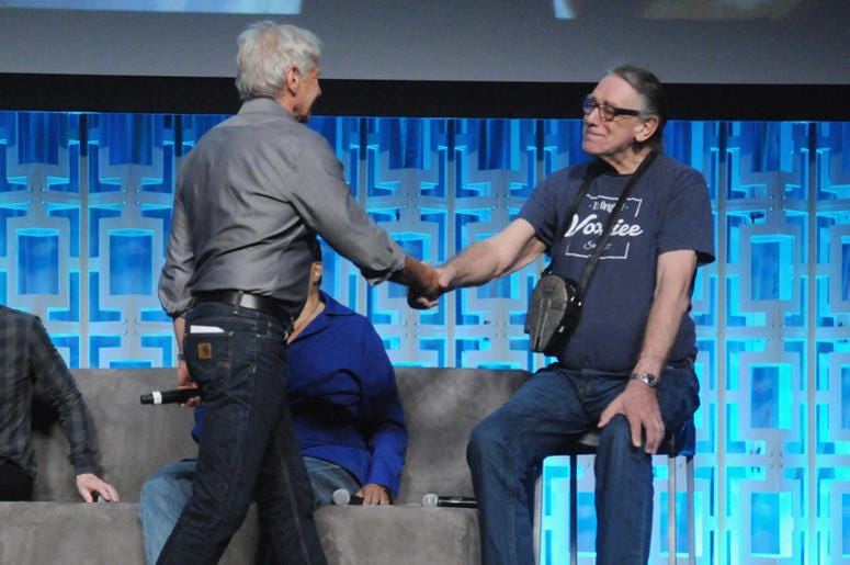 Harrison Ford and Peter Mayhew attend the 40 Years of Star Wars panel during the 2017 Star Wars Celebration