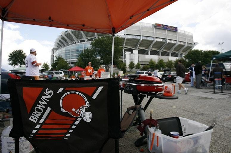 Cleveland Browns fans tailgate