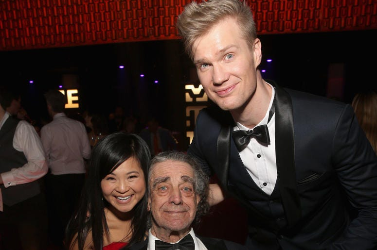 Actor Kelly Marie Tran ,Peter Mayhew, and Actor Joonas Suotamo at the world premiere of Lucasfilm's Star Wars: The Last Jedi at The Shrine Auditorium on December 9, 2017 in Los Angeles, California.