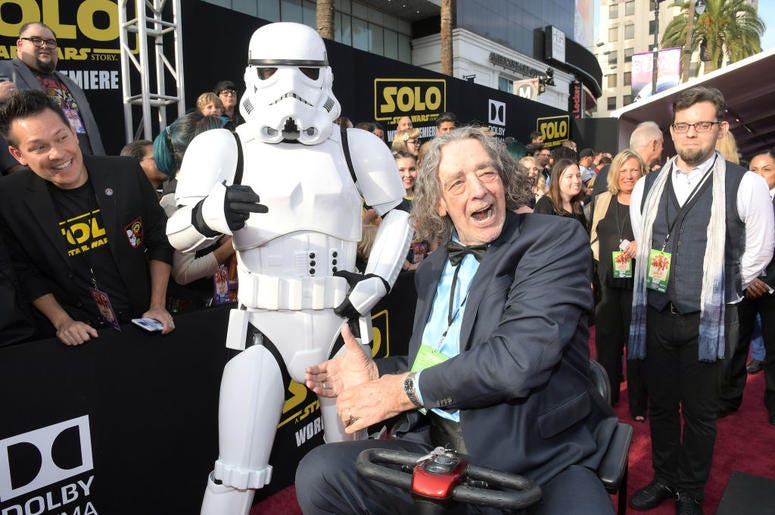 "Actor Peter Mayhew attends the world premiere of ""Solo: A Star Wars Story"" in Hollywood on May 10, 2018."