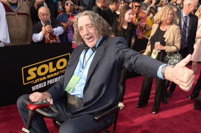 "Peter Mayhew attends the premiere of Disney Pictures and Lucasfilm's ""Solo: A Star Wars Story"" at the El Capitan Theatre on May 10, 2018"