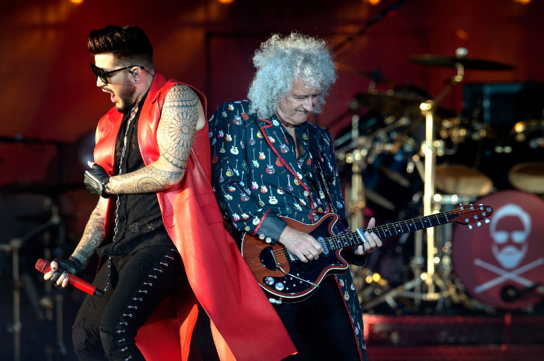 Adam Lambert performs with Brian May from Queen on the main stage during the TRNSMT Festival on Glasgow Green in Glasgow