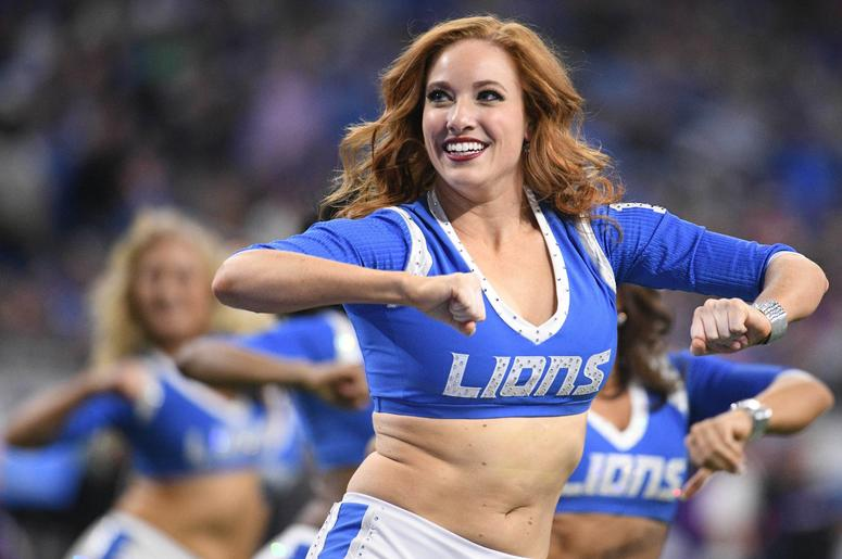 Detroit Lions cheerleaders perform during the game against the Minnesota Vikings at Ford Field.