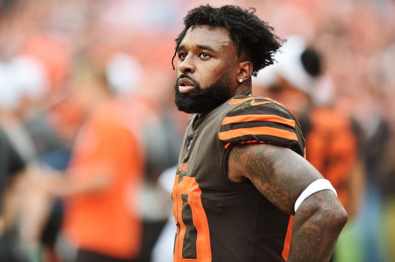leveland Browns wide receiver Jarvis Landry (80) looks on during the second