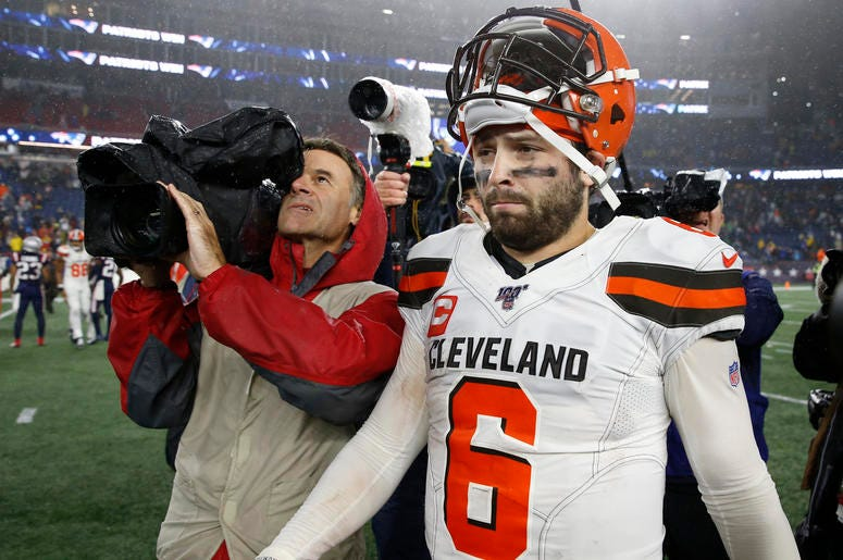 Oct 27, 2019; Foxborough, MA, USA; Cleveland Browns quarterback Baker Mayfield (6) reacts following the loss to the New England Patriots at Gillette Stadium. Mandatory Credit: Greg M. Cooper-USA TODAY Sports