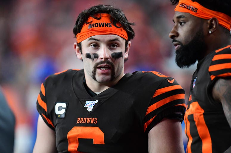 Nov 3, 2019; Denver, CO, USA; Cleveland Browns quarterback Baker Mayfield (6) talks to wide receiver Taywan Taylor (10) in the fourth quarter against the Denver Broncos at Empower Field at Mile High. Mandatory Credit: Ron Chenoy-USA TODAY Sports