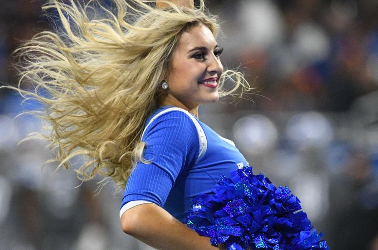 Detroit Lions cheerleader performs during the game against the Chicago Bears at Ford Field.