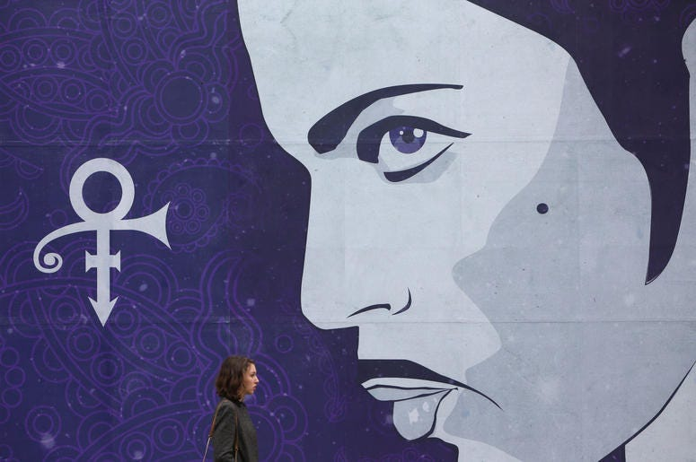 A mural in Dublin, Ireland, in memory of Prince
