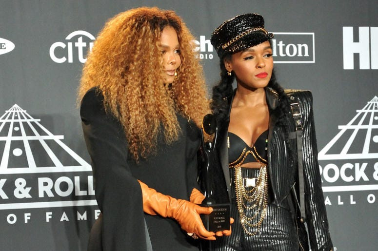 L-R: Janet Jackson and Janelle Monet in the press room at the 2019 Rock and Roll Hall of Fame Induction Ceremony at the Barclays Center in Brooklyn, NY on March 29, 2019.