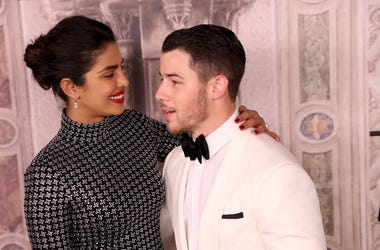 Priyanka Chopra and Nick Jonas attend the Ralph Lauren fashion show during New York Fashion Week